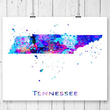 Tennessee Map Art Print - Unframed