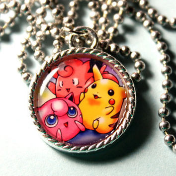PIkachu Clefairy and Jigglypuff Pokemon Video Game Cameo Necklace