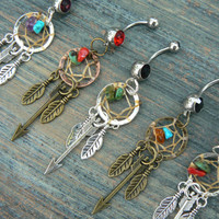 arrow dreamcatcher belly ring PICK ONE feathers gemstones in native american tribal boho belly dancer tribal fusion and hipster style