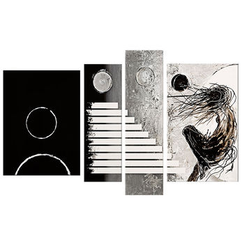 Black & White Moving Target Abstract Canvas Wall Art Oil Painting