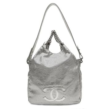 Authentic Chanel SILVER Perforated Leather Rodeo Drive Large Tote Hobo Bag