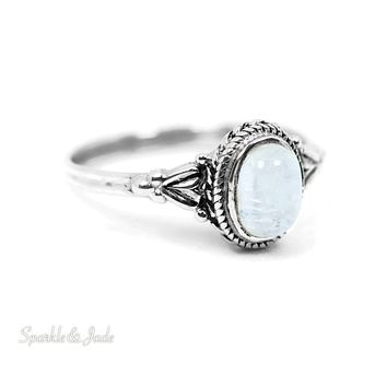 Sterling Silver Antiqued Leaf Design Rainbow Moonstone Ring