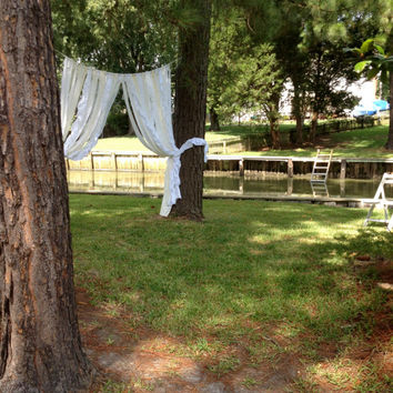 Wedding Garland Curtain Backdrop Floor Length - Rustic, Tattered, Shabby, Cottage, Chic, Boho - Photo Booth - Lace Pearls 8 ft x 6 ft
