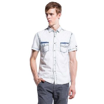 Fashion Jeans Shirt Men Brand Casual Cotton Summer Men Shirt Short Sleeve Slim Fit Solid Color Denim Shirt Men Chemise Homme