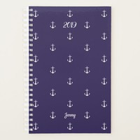 Elegant Year Nautical Anchor Custom Name Navy Blue Planner