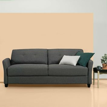 Dark Grey Fabric Upholstered Sofa Couch with Modern Flared Arms