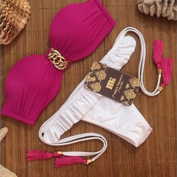 2015 new fashion women's chain sexy bikini push up swimsuit bahting suit for female [9221669700]