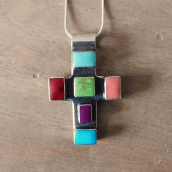 Mexico 925 Sterling Silver Cross with Colored Stones
