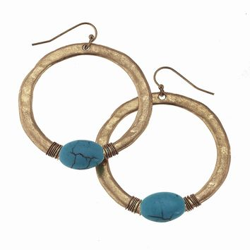 Worn Gold Wire Wrapped Turquoise Hoop Earring