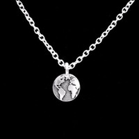 Earth Gift Globe Map Geography Atlas Planet World Necklace