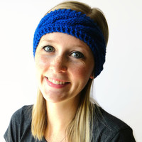 Blue Knit Headband, Cable Knit Headband, Knit Headwrap