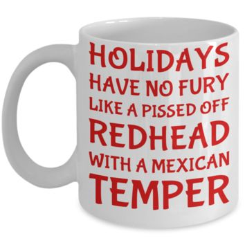 Holiday Christmas Mug Gift For Redhead Mexican Girls - Xmas Inspiration Gift For Her, Mom, Grandma, Sister, Girlfriend - 11oz White Ceramic Cup for Cocoa, Coffee, Tea, Cookies & Ginger Bread