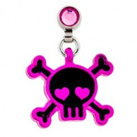 Microdermal Dangling Pink and Black Skull with Heart Eyes Charm - Magnetic - Fully Rotational - Sold Individually