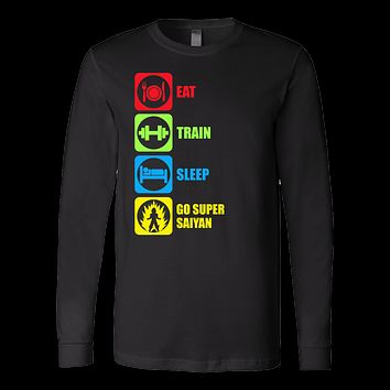 Super Saiyan - Eat, Train, Sleep, Go Super Saiyan 2 - Unisex Long Sleeve T Shirt - TL01214LS