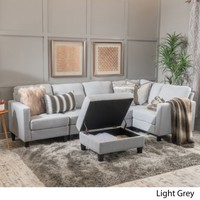 Christopher Knight Home Zahra 6-piece Fabric Sofa Sectional with Storage Ottoman by - Walmart.com