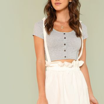 Ruffle High Waist Skirt With Tied Strap