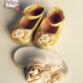 Baby Girl   Rosette Crib Shoes  ,Baby Shoes,Christening, Baptism, Wedding, Ready to ship