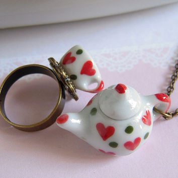 Mini Teapot Tea Cup Necklace Ring Set - Kawaii Heart - Adjustable Ring And Charm Necklace
