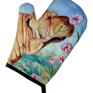 Shar Pei Smell the flowers Oven Mitt 7105OVMT