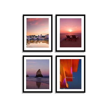 Set of 4 pink sunset Prints, Gallery wall Portugal, Santorini, pink sky beach, nautical coastal, calm, peace Travel Gallery Wall minimalist