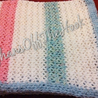 Crochet lacy v-stitch baby afghan blanket