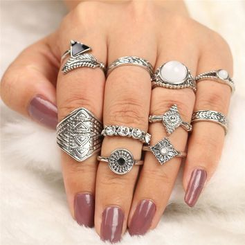 PINIYA 2017 10pcs/set Vintage Turkish Leaf Design Opal Stone Midi Ring Sets Boho Style Punk Knuckle Men Rings Set Jewelry