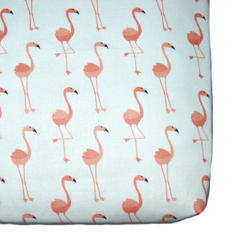 Flamingo fitted crib sheet, coral nursery, flamingo crib bedding, coral crib sheet, changing pad cover flamingo, crib sheets