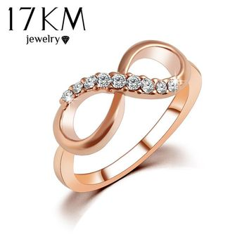 17KM New Hot Best Quality Fashion Alloy Rose Gold Color Jewelry Zircon Ring Infinity Crystal Rings For Women Best Gift