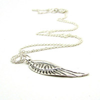 Long angel wing necklace, silver angel wing pendant, sterling silver long necklace, layering necklace, silver boho necklace
