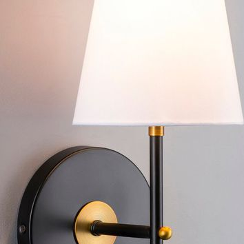 Tamb Sconce Black with Antique Brass One-Light Fixture with Fabric Shade - Hardwire Wall Mount Lighting - Linea di Liara LL-SC201-AB