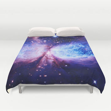 Duvet Cover, Blue & Purple Space Duvet, Colorful Duvet, Blue Purple Blanket, Bedroom Decor, Dorm Decor, Kids Room, Queen Duvet , King Duvet