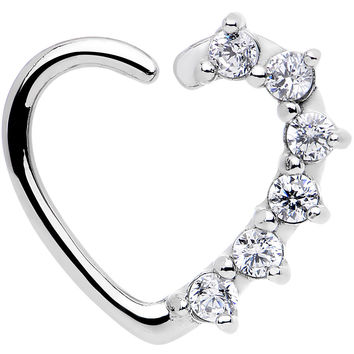 16 Gauge Clear CZ Heart Left Closure Daith Cartilage Tragus Earring