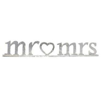 """Silver Wood Mr & Mrs Wedding Sign for Table Top4.25"""" Tall x 26.25"""" Long"""
