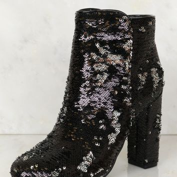 All Sequin Booties Black/ Silver