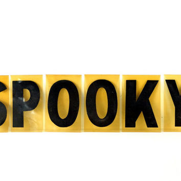 "Vintage Industrial Sign Letters ""SPOOKY"" Black on Orange Acrylic (7 inches tall) - Halloween Decor 