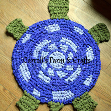 Custom Order Turtle-Shaped Amish-Knot Rag Rug, Upcycled Rugs