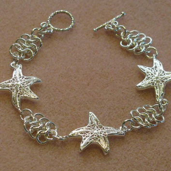 Sterling Silver Chain Maille Starfish Charm Bracelet