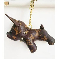 LV Louis Vuitton New Fashion Print Cute Dog Bag Charm And Keychain Key Holder Coffee