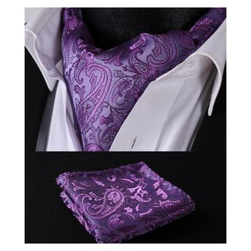 Men's Flowery Ascot/Cravat Tie & Handkerchief Collection