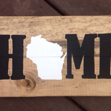 Small Wisconsin Home Wood Sign - Rustic Wooden State Decor - Wisconsin Handpainted Art - WI Christmas Gift