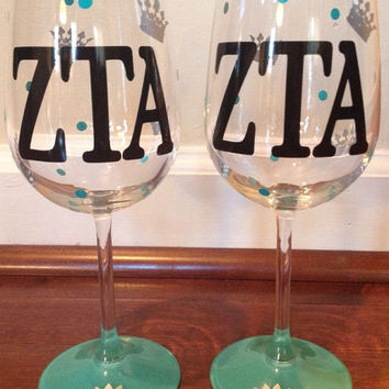 Zeta Tau Alpha, ZTA, Personalized Wine Glass, Sorority Wine Glass, Custom Wine Glass, Big WIne Glass, Little Wine Glass