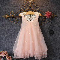 Baby Girls Princess Party Dress Pearl Lace Flower Casual Dress Sundress 2-8Y = 5617060097