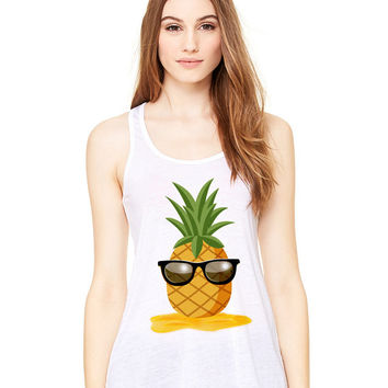 White Tank Top - Pineapple Man - Ladies Womens Racerback Beach Summer Outfit Spring Sand Sunglasses Fruit