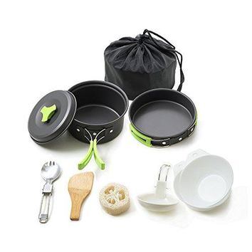 Portable camping cookware mess kit folding Cookset for hiking backpacking 10 piece Lightweight durable Pot Pan Bowls Spork with nylon bag outdoor cook equipment