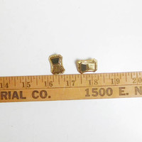 Laser Cut Clip on Earrings, Gold Tone, Signed, LH Segal California, Rectangular, Unique, Vintage