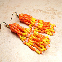 Candy Corn Earrings Design Halloween Fall October Orange Yellow Gold Plated Surgical Steel Earwires Womens Jewelry Summer Accessories