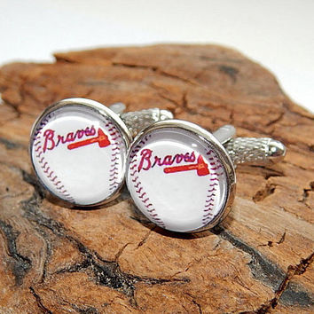Braves baseball logo icon cuff links, Braves baseball simbol, Braves baseball patch, baseball sports team, baseball cuff link, baseball fan