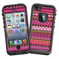 Pink Geometric Tribal Skin  for the iPhone 5 Lifeproof Case by skinzy.com