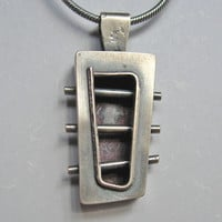 Silver 3-D Box Shaped Pendant with a Window and Pierced with Tubes