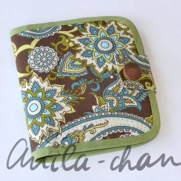 "Brown and Green Paisley Small Wallet, Mini cotton fabric wallet, Card Wallet, Gift Card Holder ""Tracery on a glass"""